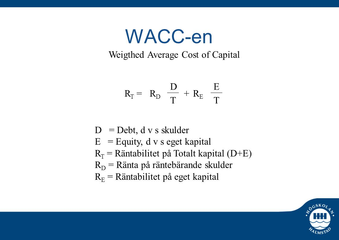 WACC-en Weigthed Average Cost of Capital D E RT = RD + RE T T