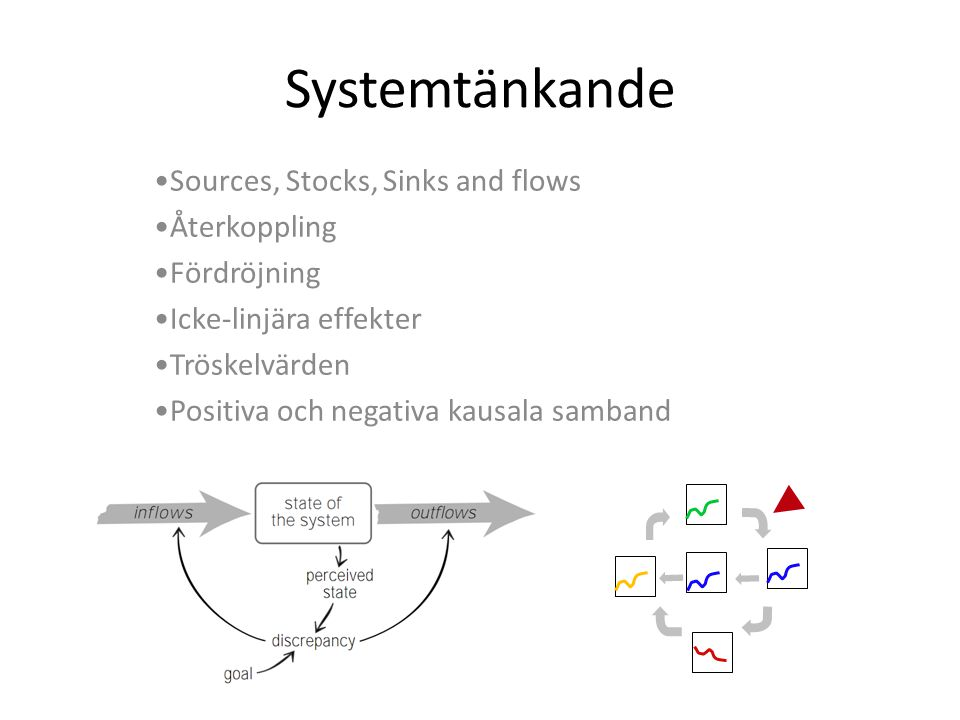 Systemtänkande Sources, Stocks, Sinks and flows Återkoppling