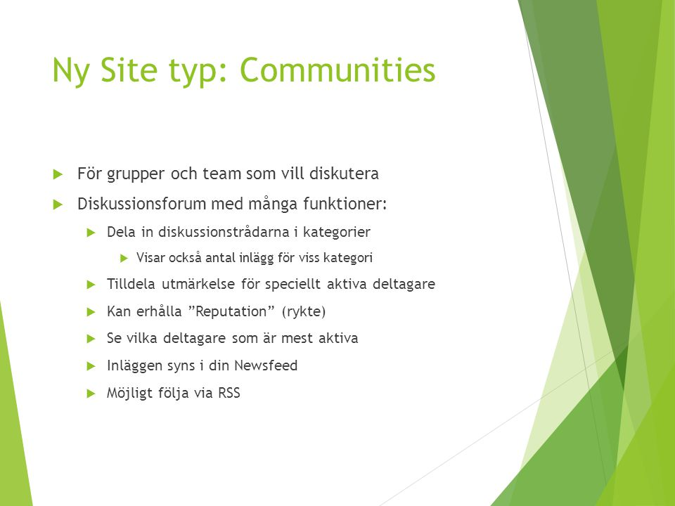 Ny Site typ: Communities