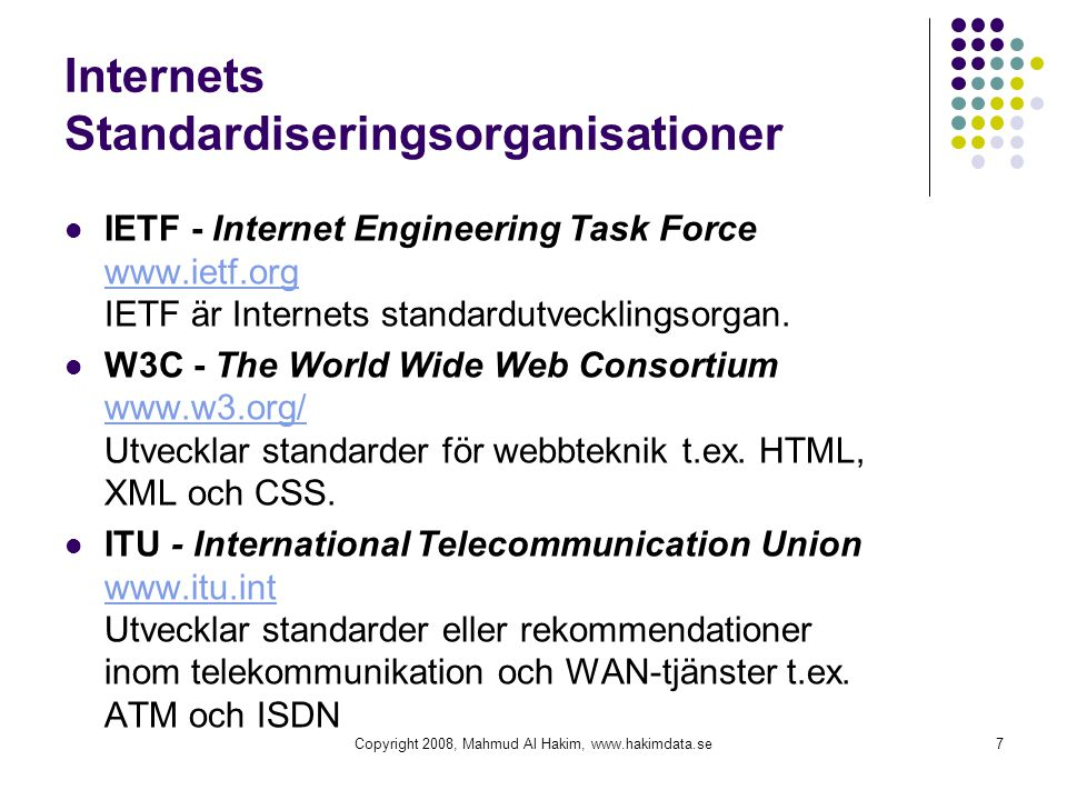 Internets Standardiseringsorganisationer