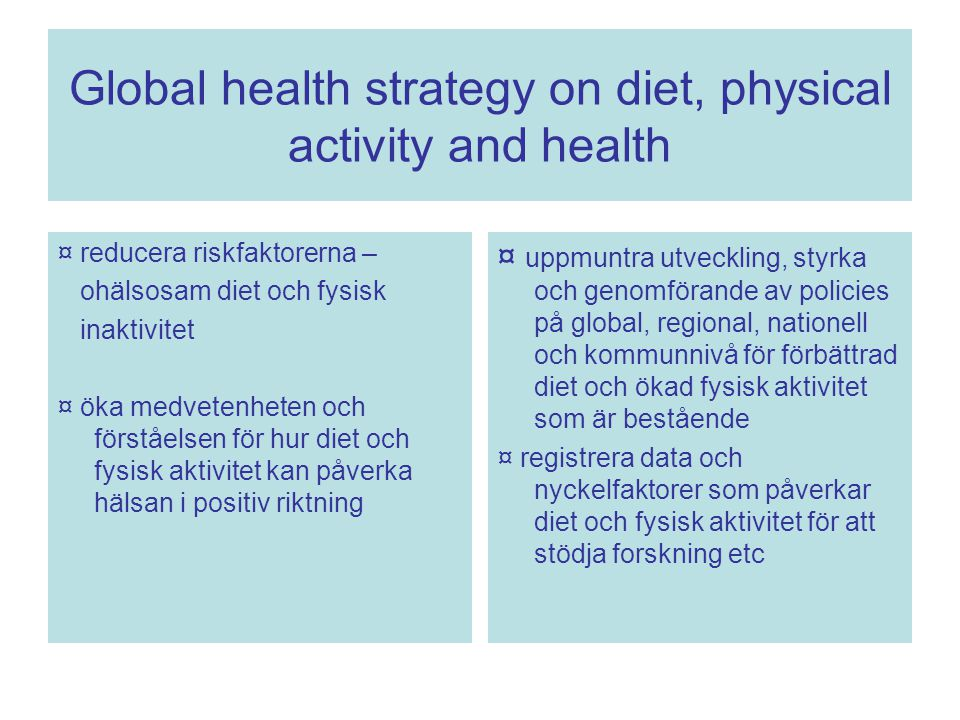 Global health strategy on diet, physical activity and health