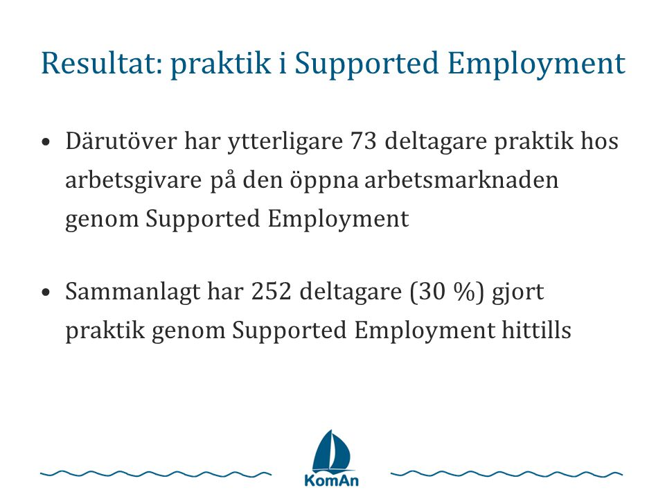 Resultat: praktik i Supported Employment