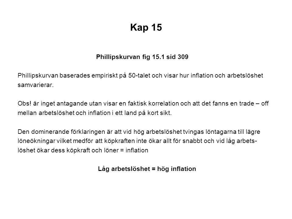 Kap 15 Phillipskurvan fig 15.1 sid 309