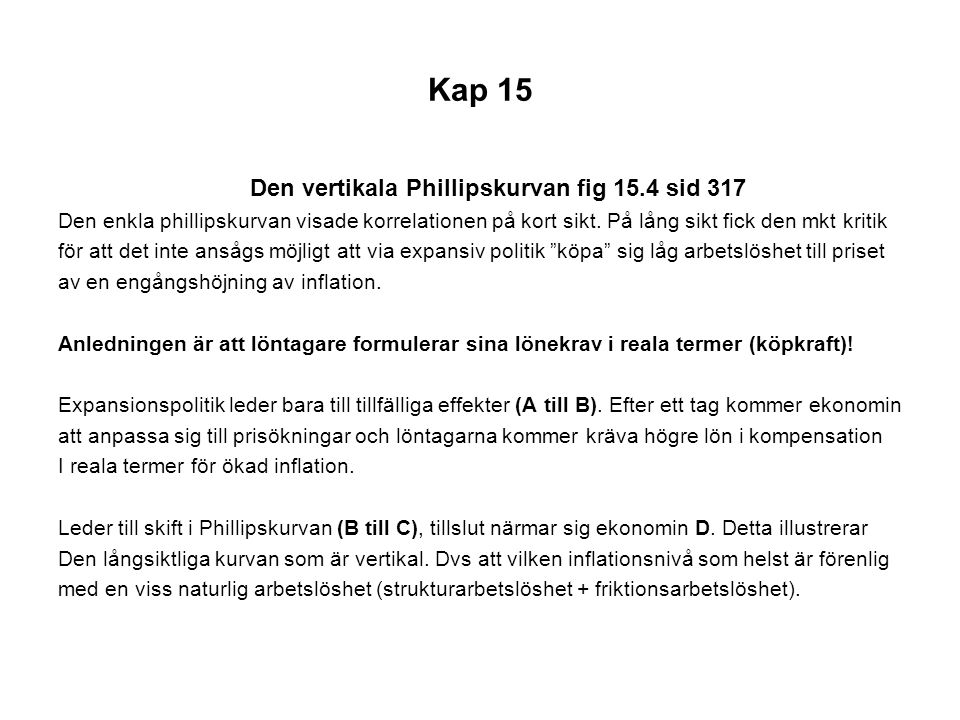 Kap 15 Den vertikala Phillipskurvan fig 15.4 sid 317