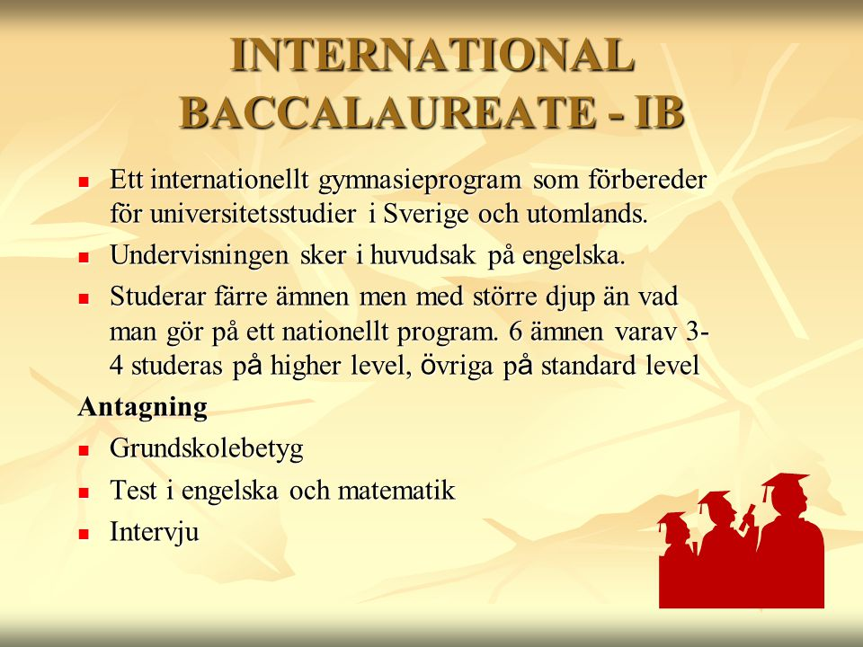 INTERNATIONAL BACCALAUREATE - IB