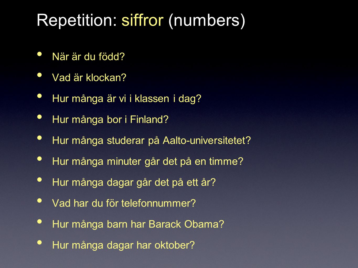 Repetition: siffror (numbers)