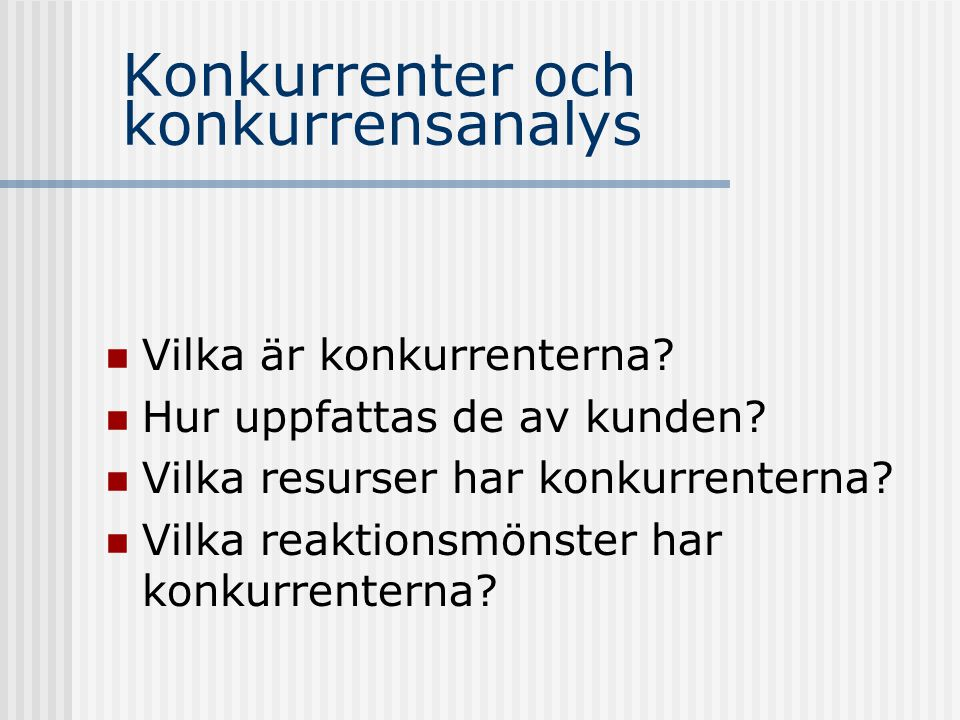Konkurrenter och konkurrensanalys