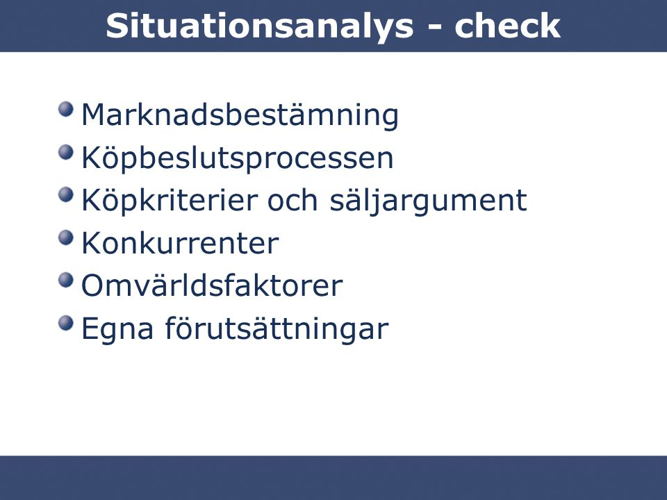 Situationsanalys - check