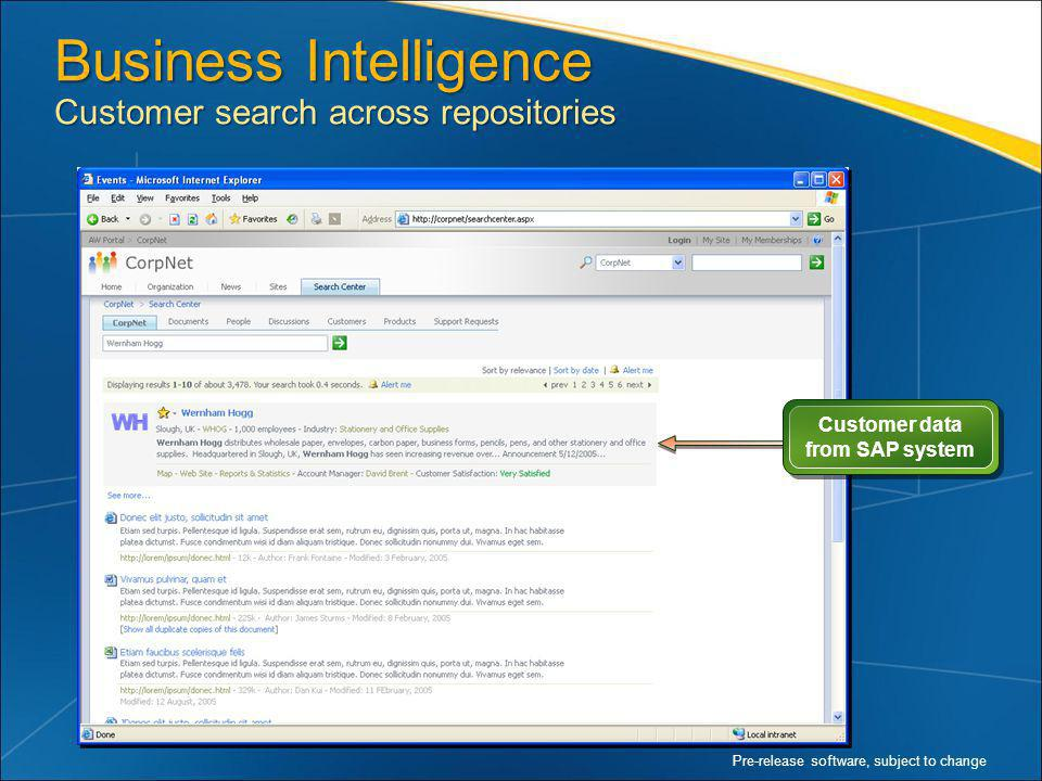 Business Intelligence Customer search across repositories