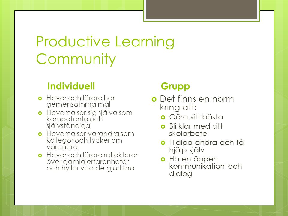 Productive Learning Community