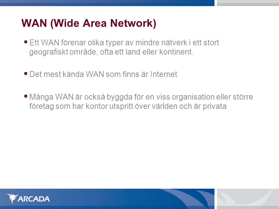 WAN (Wide Area Network)‏