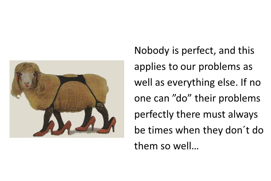 Nobody is perfect, and this applies to our problems as well as everything else.