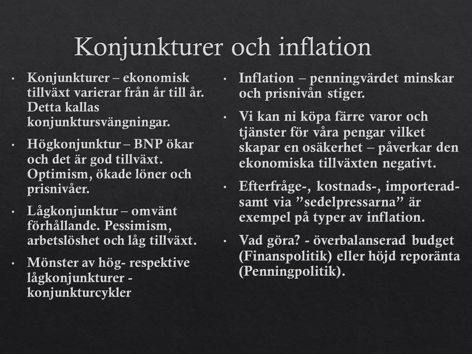Konjunkturer och inflation