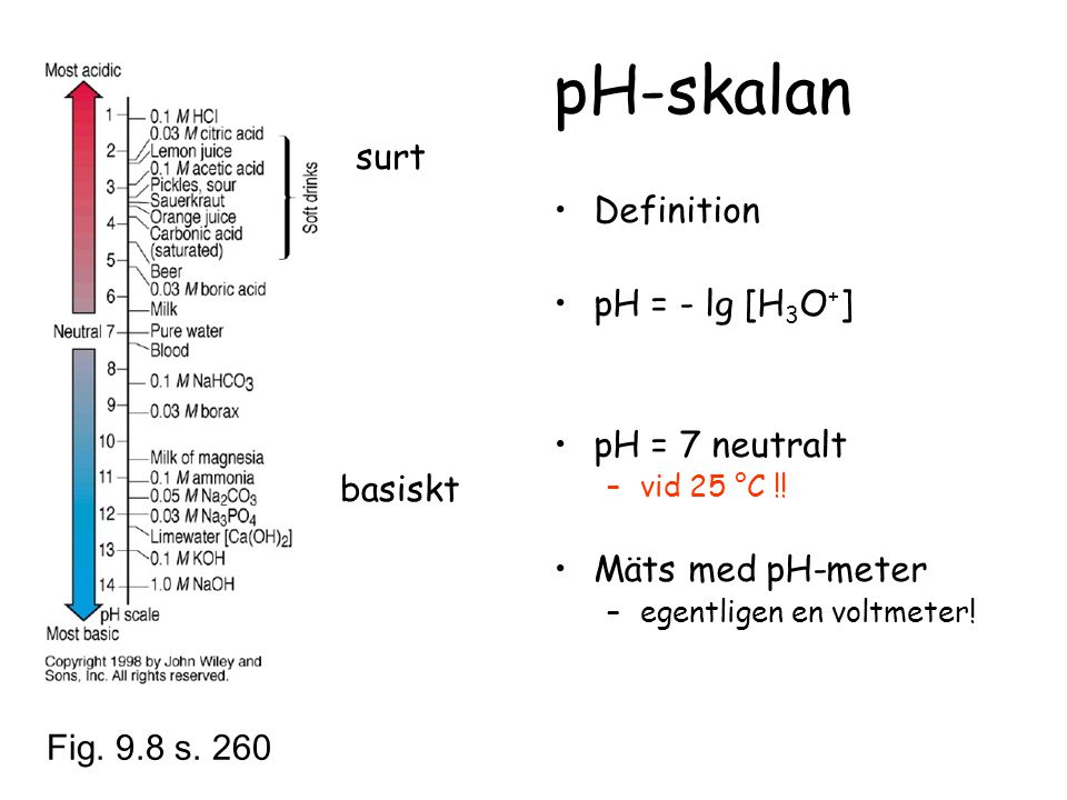 pH-skalan surt Definition pH = - lg [H3O+] pH = 7 neutralt