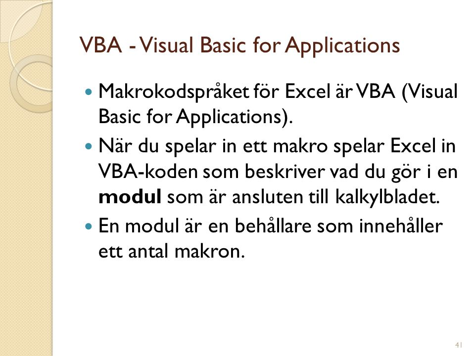 VBA - Visual Basic for Applications