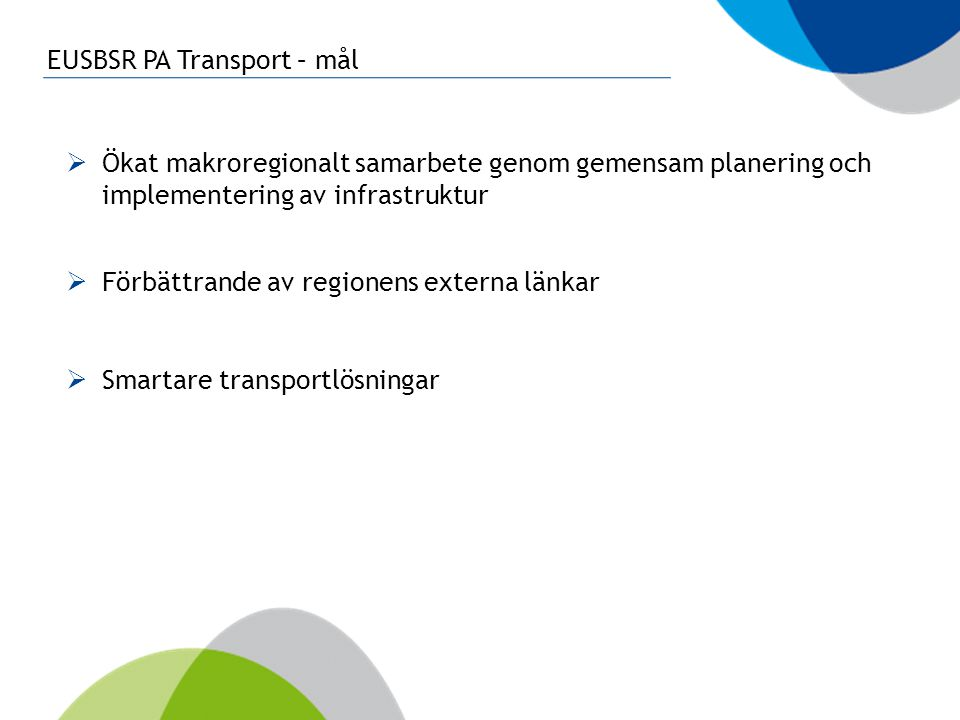 EUSBSR PA Transport – mål