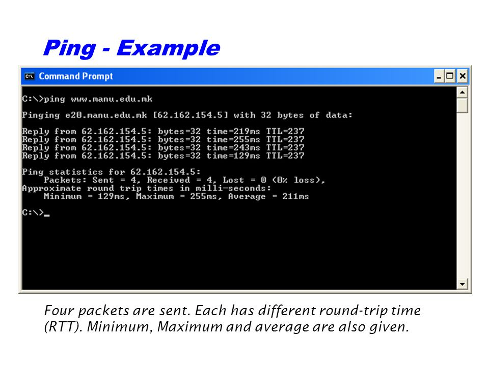 Ping - Example Four packets are sent. Each has different round-trip time (RTT).