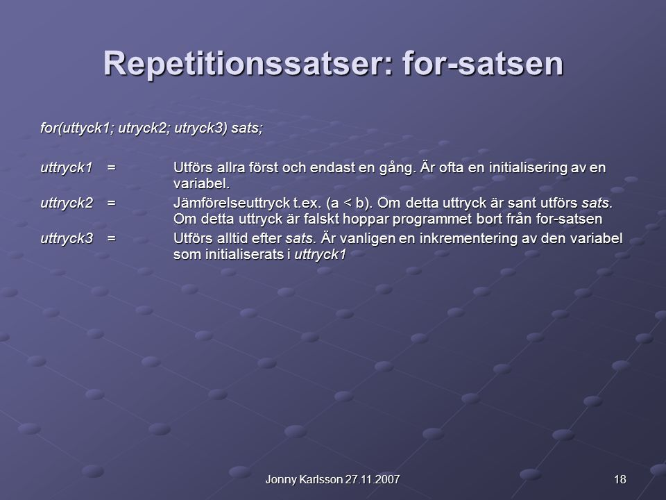 Repetitionssatser: for-satsen