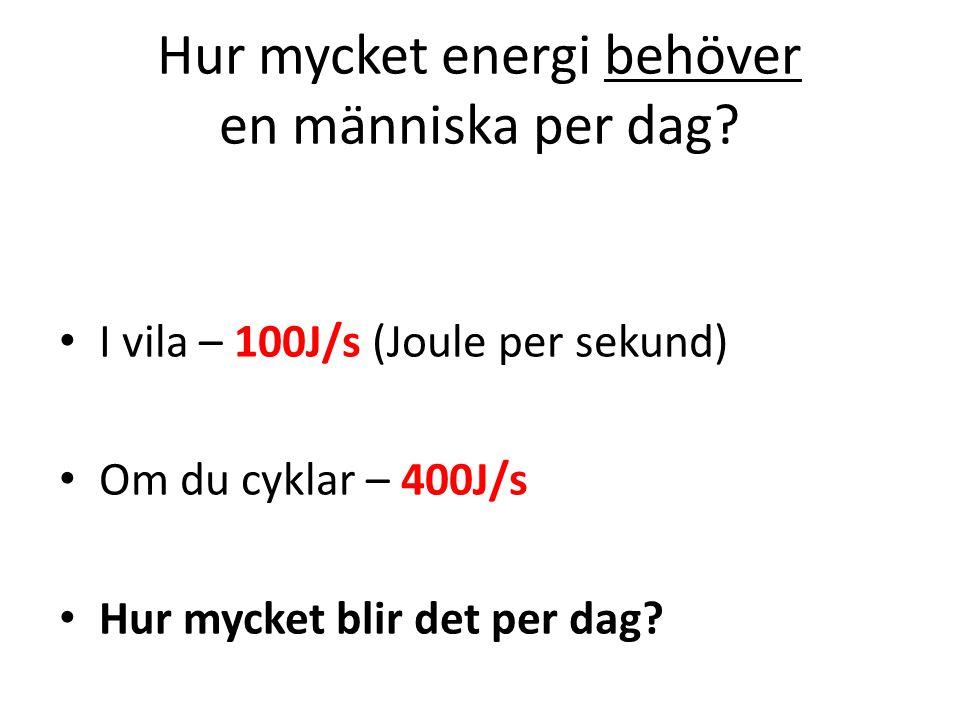 hur mycket energi behöver man per dag