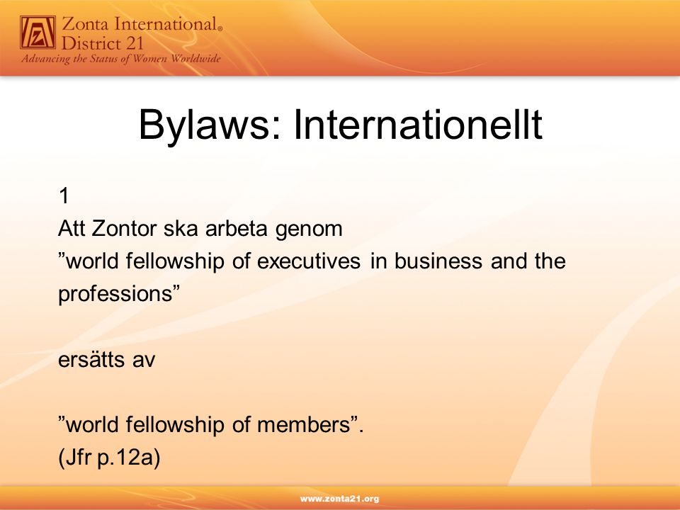 Bylaws: Internationellt