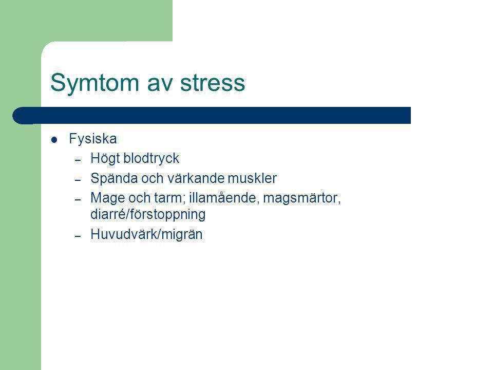 Stress fysiska symtom
