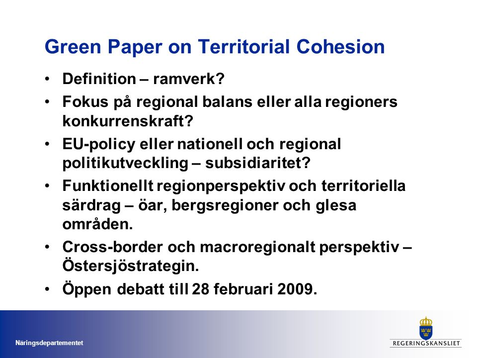 Green Paper on Territorial Cohesion