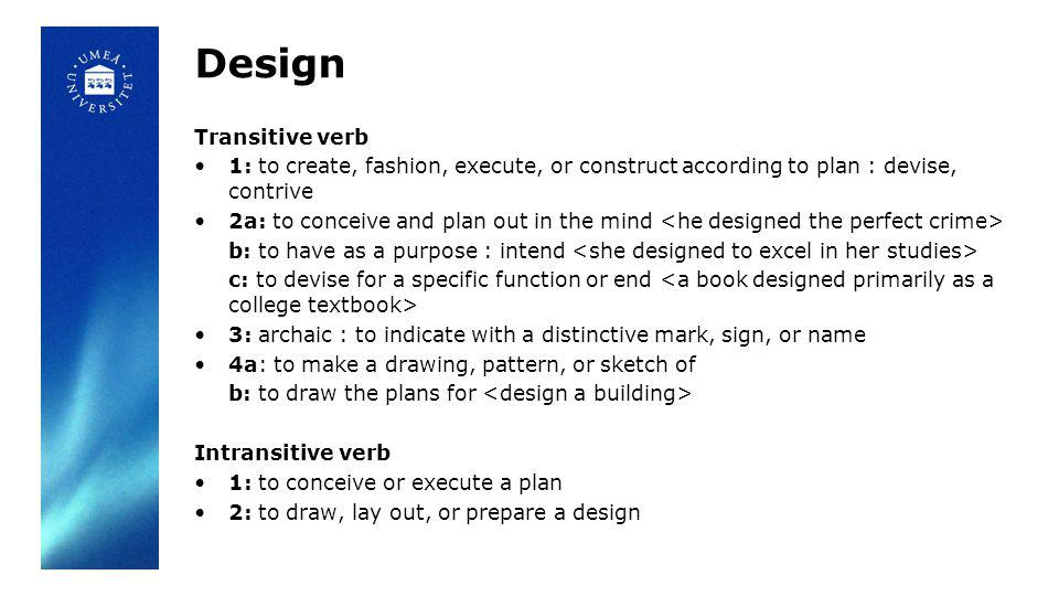 Design Transitive verb