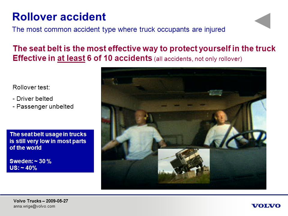 Rollover accident The most common accident type where truck occupants are injured.