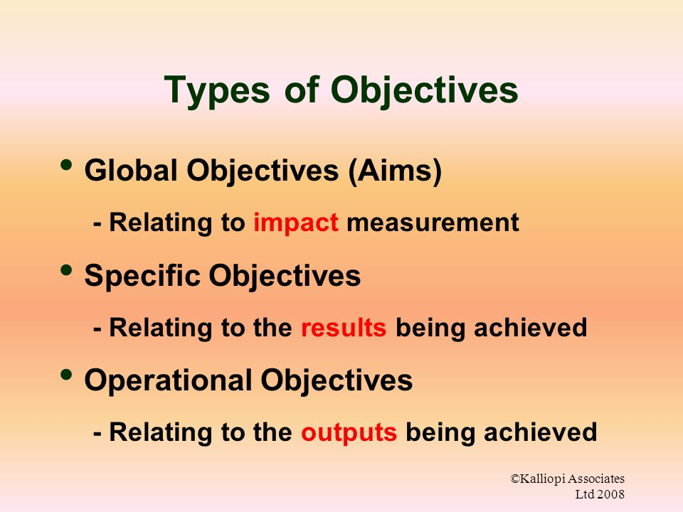 Types of Objectives Global Objectives (Aims) Specific Objectives