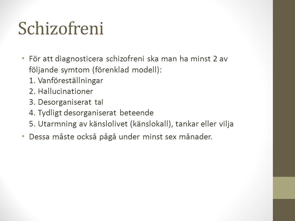 symtom på schizofreni
