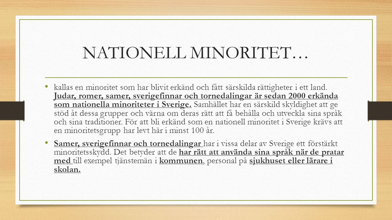 NATIONELL MINORITET…